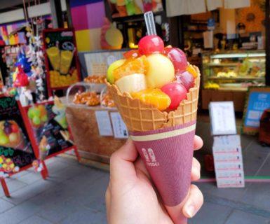 【TENTEーてんて】行列のできるソフトクリーム☆フルーツたっぷりソフト《熊本市中央区》